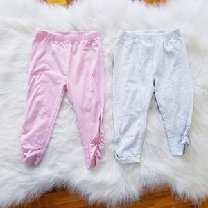Other - Baby Girl Pink & Grey Cinched Leggings - 2 pc set